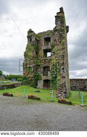 Carriganass, Ireland- July 12 2021: The Ruins Of Carriganass Castle In County Cork Ireland
