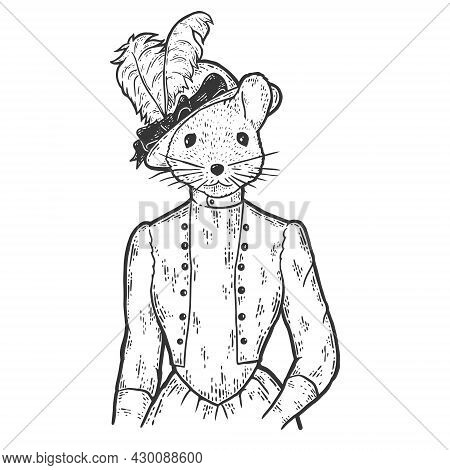 Striped Field Mouse Woman In Vintage Clothing.fashion Animal Character. Hand Drawn Sketch.striped Fi