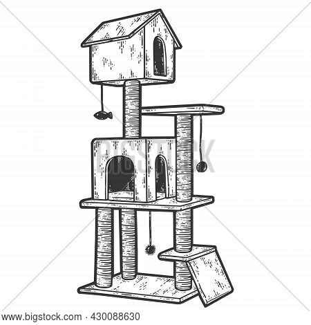 Cat Tree With Cat House And Scratching Post. Isolated Pet Supply. Sketch Scratch Board Imitation.