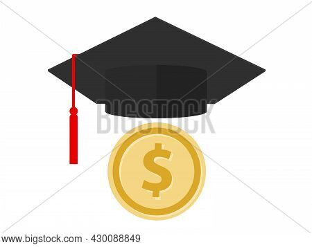 Coin And Graduation Hat Cap Symbol Icon Of Education Degree Fee Cost College Loan Or Savings