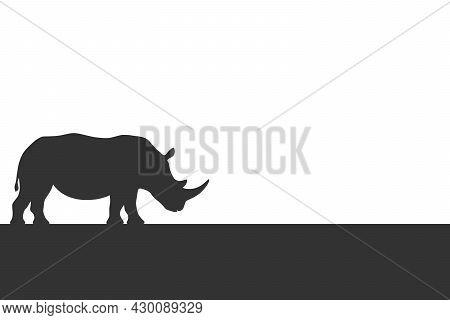 Rhino Graphic Icon. Rhinoceros Sign With Line Of Ground On White Background. Wildlife Line Symbol. V