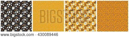 Collection Of Orange, Black, White Color Polka Dot And Ditsy Floral Vector Seamless Pattern. Small M