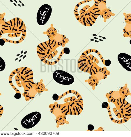 Vector Seamless Pattern With Spotted Tigers.  Tigers On A Green Background.  Wildlife And Fauna, Vec