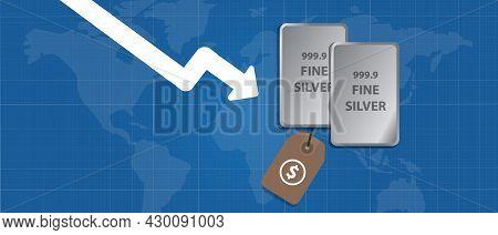 Silver Bar Precious Metal Going Down Decrease Drop Low Decline Trade Market International Arrow Char