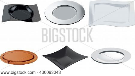 Plates Of Various Shapes For Flat Foods And Black And White Bottoms