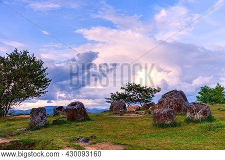Plain Of Jars Is A Megalithic Archaeological Landscape.