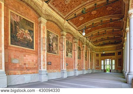 Baden-baden, Germany - July 2021: Entrance Of Historic Pump House Called \'trinkhalle\' Lined With F