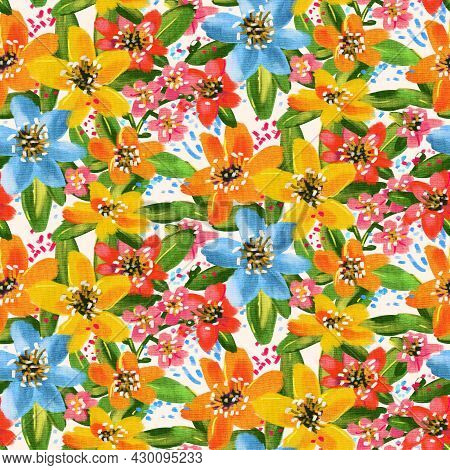 Seamless Pattern With Tropical Flowers. The Art Of Oil Painting.
