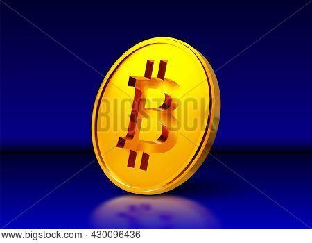 Bitcoin Golden Coin Representing Blockchain Technology For Virtual Electronic Money