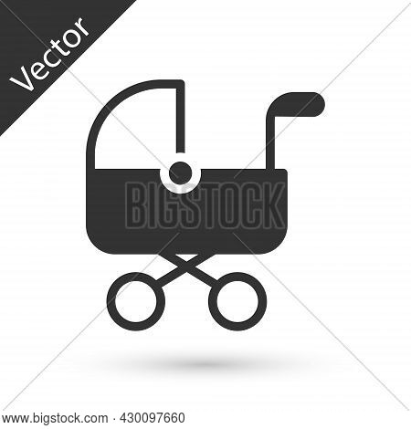 Grey Baby Stroller Icon Isolated On White Background. Baby Carriage, Buggy, Pram, Stroller, Wheel. V