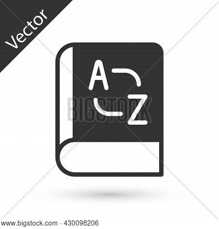 Grey Translator Book Icon Isolated On White Background. Foreign Language Conversation Icons In Chat