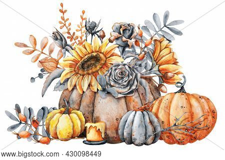 Autumn Bouquet In Pumpkin, Sunflower Flowers, Vintage Black Roses, Leaves, Candle, Rose Hips. Thanks