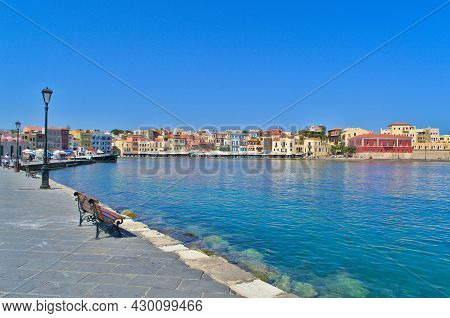 Chania, Greece - July 28, 2021: The Embankment Of The Port City Of Chania In Greece.