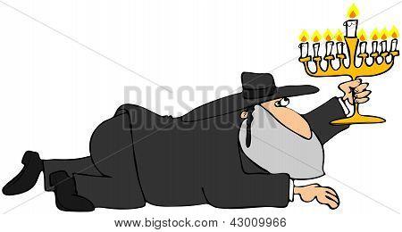 Crawling Rabbi with a Menorah