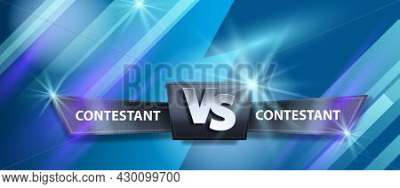 Vs Game Neon Background, Vector Versus Fight Battle Sport Banner, Competition Abstract Team Logo. Fu