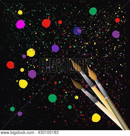 Artistic Brushes On An Abstract Dark Background With Bright Multicolored Splashes - Vector Illustrat