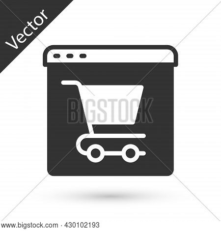 Grey Online Shopping On Screen Icon Isolated On White Background. Concept E-commerce, E-business, On