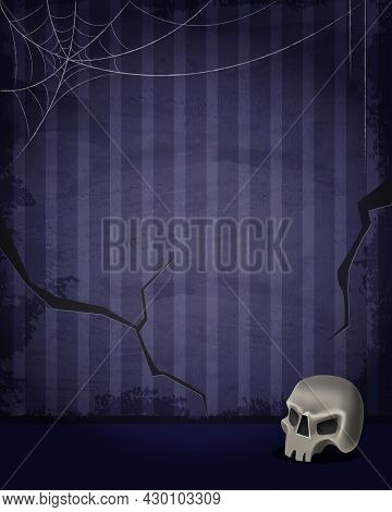 Aged Old Room With Blue Striped Grunge Wallpaper, Spiderweb And Skull For Halloween Design