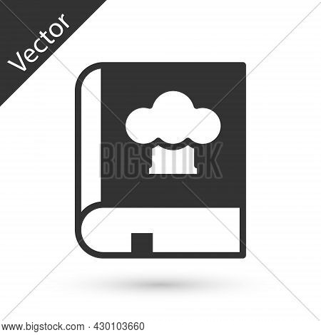 Grey Cookbook Icon Isolated On White Background. Cooking Book Icon. Recipe Book. Fork And Knife Icon