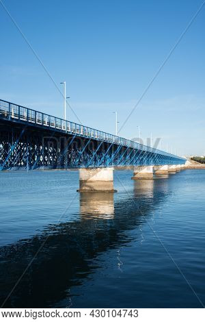 Beautiful Old Blue Bridge Over Arade River At Portimao. Sunset, No People, Portugal. Europe