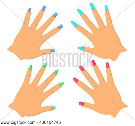 Set Of Female Hands With Manicure Of Different Shapes And Different Colors Of Varnish