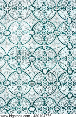 Old Portuguese Tiles With Pattern In White And Green Colors. Background. Portugal, Europe