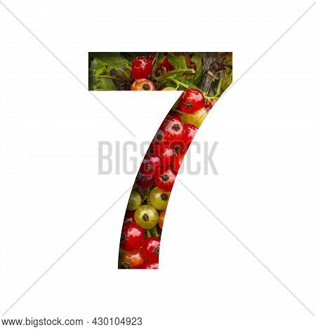 Font On Red Currant. Digit Seven, 7 Cut Out Of Paper On The Background Of Bright Ripe Bunches Of Red