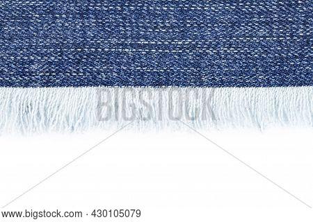 Denim Border With Fringe Close Up On White Background