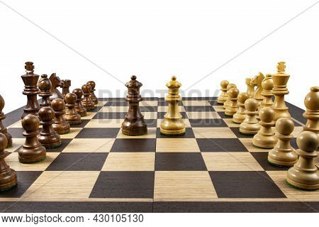 Chess Board With Spaced Pieces, Concept Of Rivalry And Teamwork, White Backdrop, Space For Text, Cop
