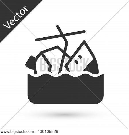 Grey Sinking Cruise Ship Icon Isolated On White Background. Travel Tourism Nautical Transport. Voyag