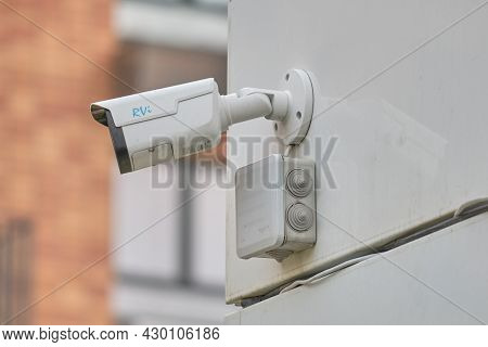 Video Surveillance Camera On The Building, Monitoring The Security Of A Window Residential House - M