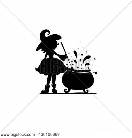 Witch With Caldron. Funny Hag Makes Potion Silhouette. Magic, Fantasy. Flat Design. Vector Illustrat