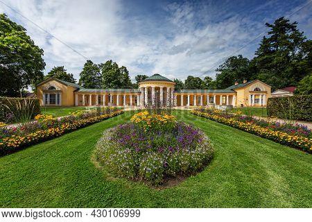 Marienbad, Czech Republic - August 12 2021: View Of The Yellow Ferdinand Spring Pavilion With Column