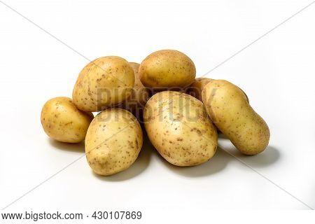 Whole Potato Vegetables On White Background. Isolated Potatos