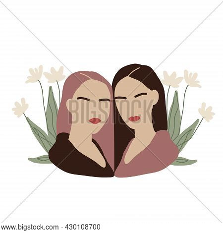 Two Girls In Green Leaves. Couple Of Abstract Women In Minimal Style. Modern Fashion Females Faceles