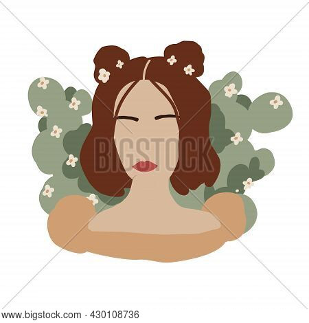 Abstract Woman Face In Minimal Style. Modern Fashion Female Faceless Portrait. Girl And Blooming Cac