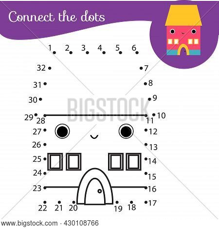 Connect The Dots. Dot To Dot By Numbers Activity For Kids And Toddlers. Children Educational Game. D
