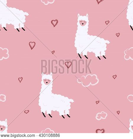 A Lama On A Cloud, With Hearts Around. Seamless Pattern For Printing, Fabrics, Postcards