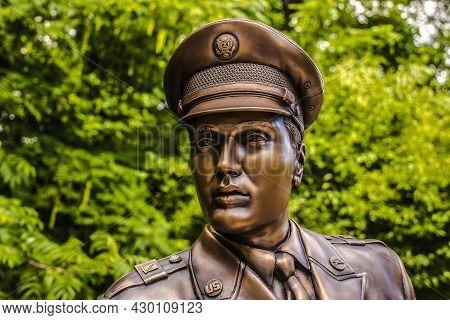 Germany - August 16, 2021 Bad Nauheim: Elvis Presley Bronze Sculpture Sponsered By Elvis Fans. Elvis