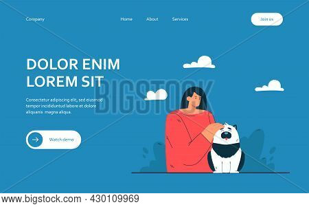 Cartoon Woman Stroking Happy Dog. Flat Vector Illustration. Female Owner Showing Tenderness To Her P
