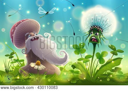Funny Mushroom Blowing On A Dandelion In The Middle Of The Forest, Green Grass, Morning Clover In Na
