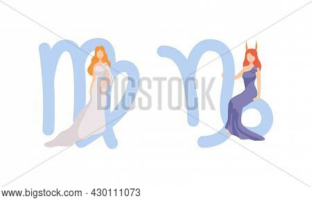 Astrological Sign Or Sign Of Zodiac With Female Near Virgo And Capricorn Symbol Vector Set