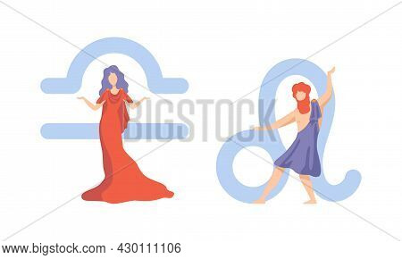 Astrological Sign Or Sign Of Zodiac With Male And Female Near Libra And Leo Symbol Vector Set
