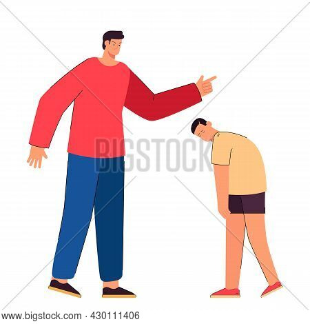 Angry Dad Punishing Sad Son Flat Vector Illustration. Father Screaming At Crying Child. Conflict, Re