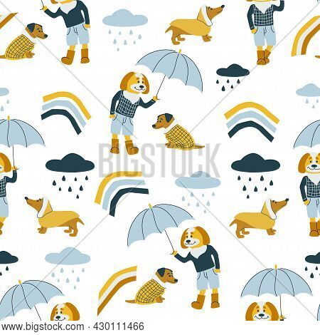 Vector Seamless Pattern With Dogs, Umbrella, Rain Drops And Rainbows. Autumn Weather. Dog Hold Umbre
