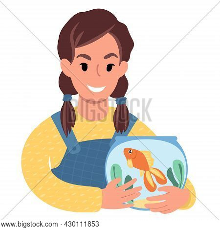 Caucasian Girl With A Pet Goldfish. Flat Style Illustration