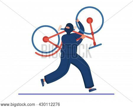 Thief Cartoon Character In Mask Stealing Bicycle. Criminal Running Away With Stolen Bike Flat Vector