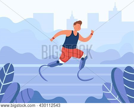 Happy Disabled Athlete Running In Park. Runner With Prosthetic Legs Jogging Outdoors Flat Vector Ill