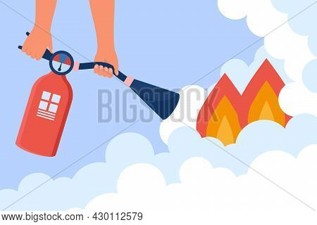 Fireman Cartoon Character Extinguishing Fire At Home. Hand Holding Handle Of Small Fire Extinguisher