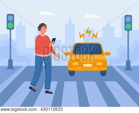 Dangerous Situation At Crosswalk With Careless Boy In Headphones. Pedestrian Crossing Road Looking A